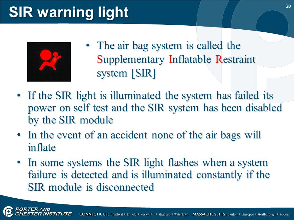 SIR warning light The air bag system is called the Supplementary Inflatable Restraint system [SIR]